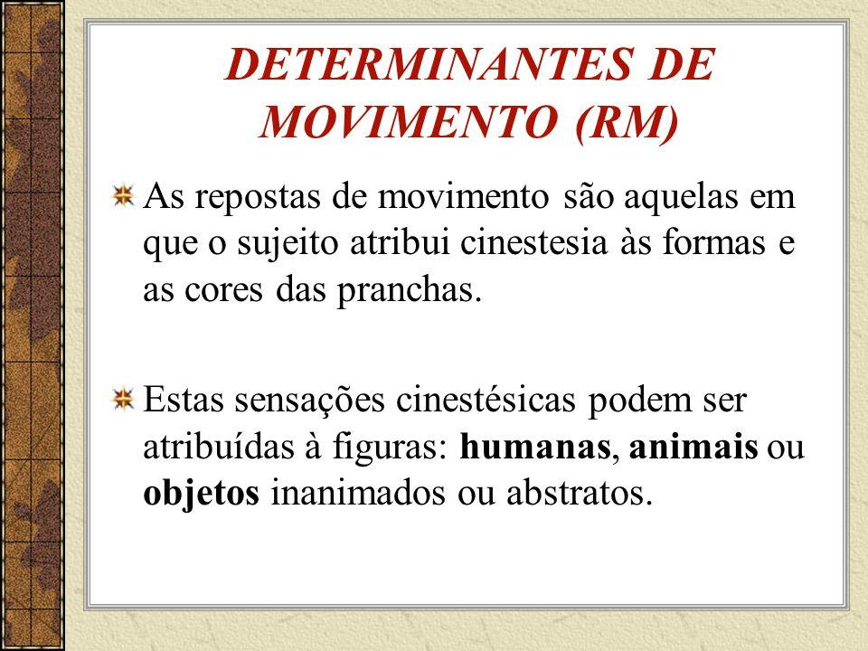 DETERMINANTES DE MOVIMENTO (RM) As repostas de movimento são aquelas em que o sujeito atribui cinestesia às formas e as cores das pranchas.