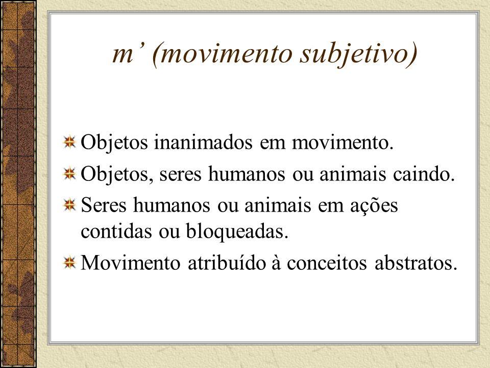 m (movimento subjetivo) Objetos inanimados em movimento.
