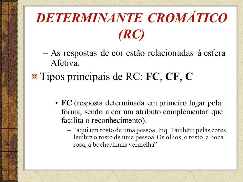 DETERMINANTE CROMÁTICO (RC) –As respostas de cor estão relacionadas á esfera Afetiva.
