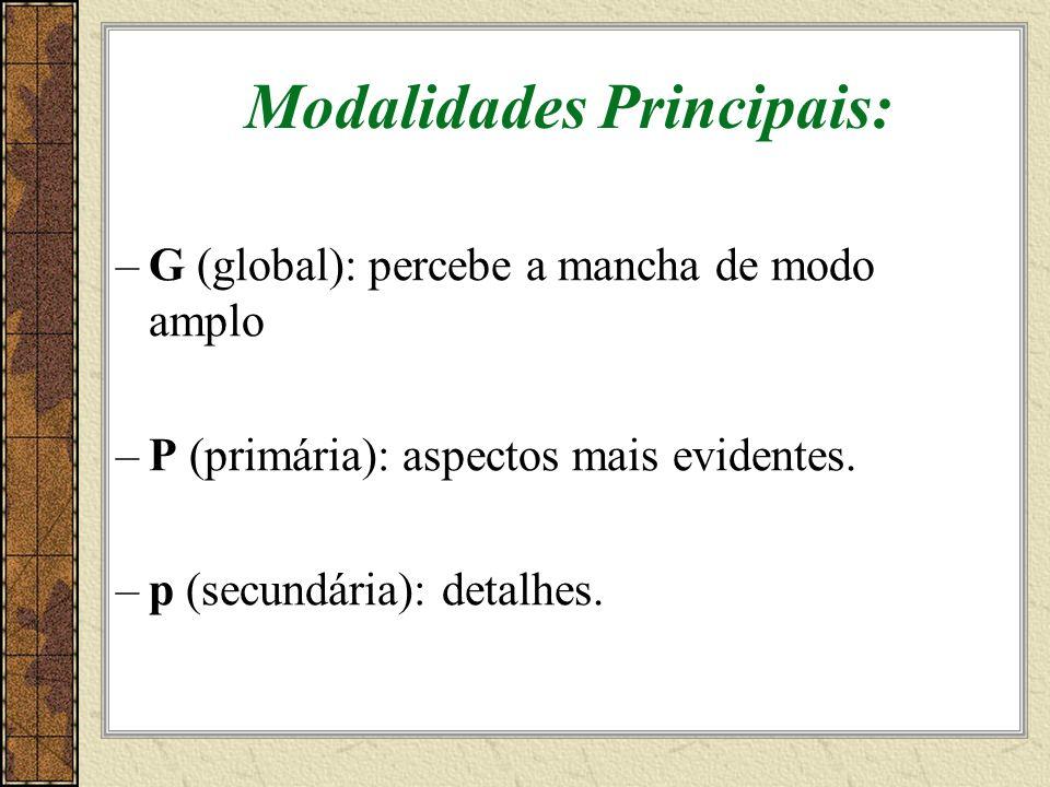 Modalidades Principais: –G (global): percebe a mancha de modo amplo –P (primária): aspectos mais evidentes.