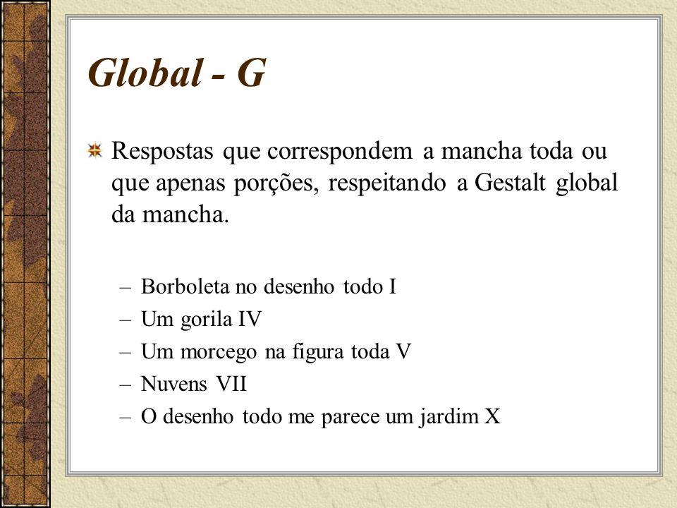 Global - G Respostas que correspondem a mancha toda ou que apenas porções, respeitando a Gestalt global da mancha.