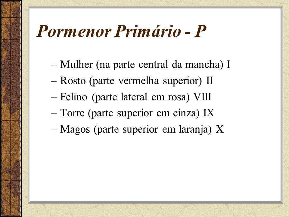 Pormenor Primário - P –Mulher (na parte central da mancha) I –Rosto (parte vermelha superior) II –Felino (parte lateral em rosa) VIII –Torre (parte superior em cinza) IX –Magos (parte superior em laranja) X