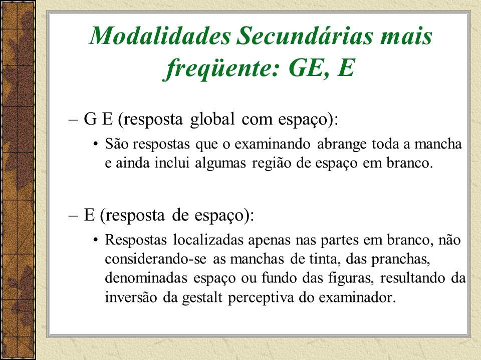 Modalidades Secundárias mais freqüente: GE, E –G E (resposta global com espaço): São respostas que o examinando abrange toda a mancha e ainda inclui algumas região de espaço em branco.
