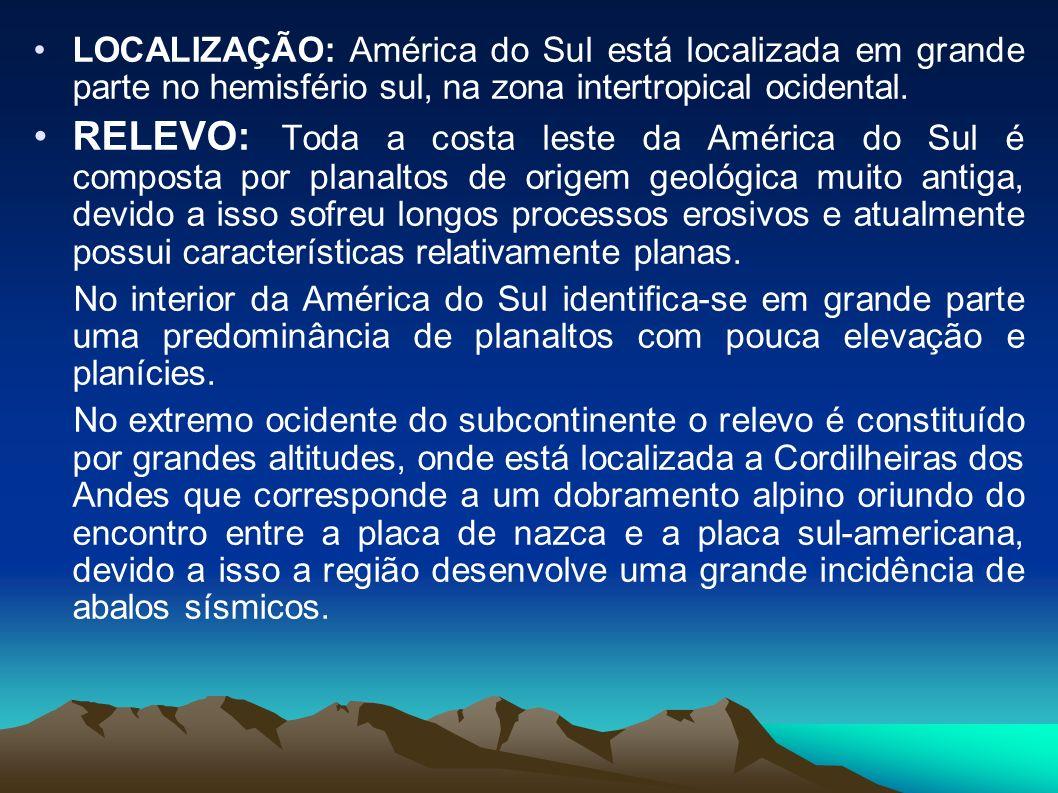 LOCALIZAÇÃO: América do Sul está localizada em grande parte no hemisfério sul, na zona intertropical ocidental.