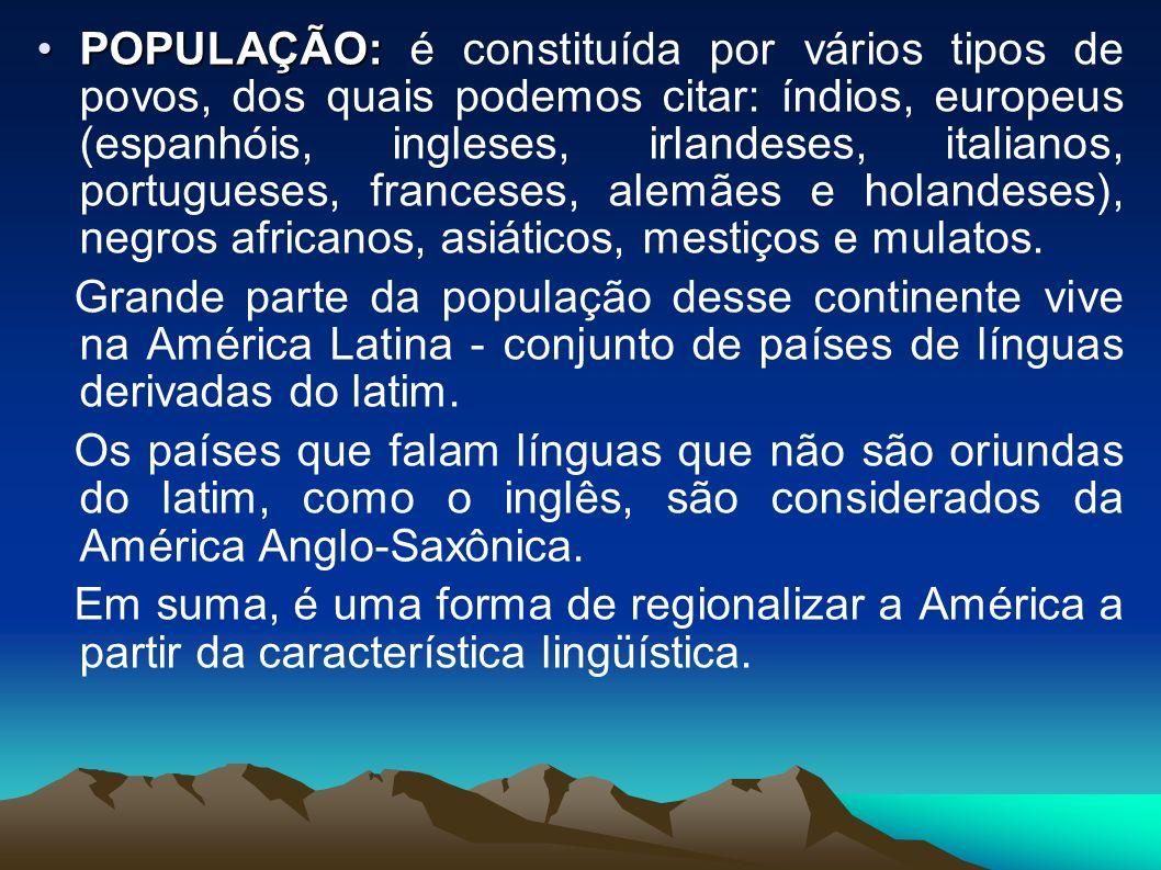 POPULAÇÃO:POPULAÇÃO: é constituída por vários tipos de povos, dos quais podemos citar: índios, europeus (espanhóis, ingleses, irlandeses, italianos, portugueses, franceses, alemães e holandeses), negros africanos, asiáticos, mestiços e mulatos.