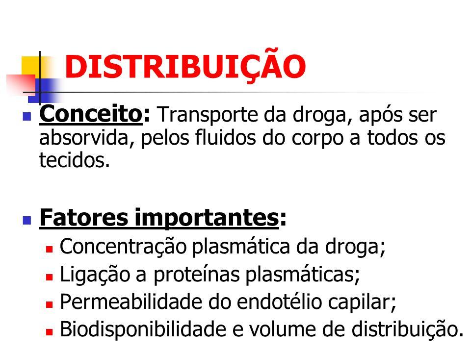 DISTRIBUIÇÃO Conceito: Transporte da droga, após ser absorvida, pelos fluidos do corpo a todos os tecidos. Fatores importantes: Concentração plasmátic