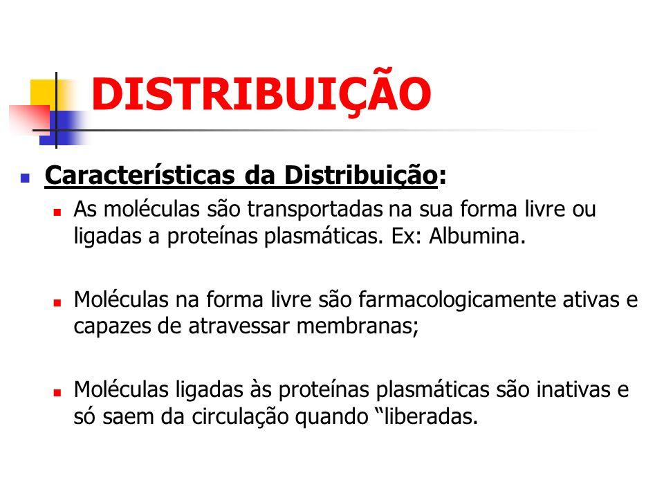 DISTRIBUIÇÃO Características da Distribuição: As moléculas são transportadas na sua forma livre ou ligadas a proteínas plasmáticas. Ex: Albumina. Molé
