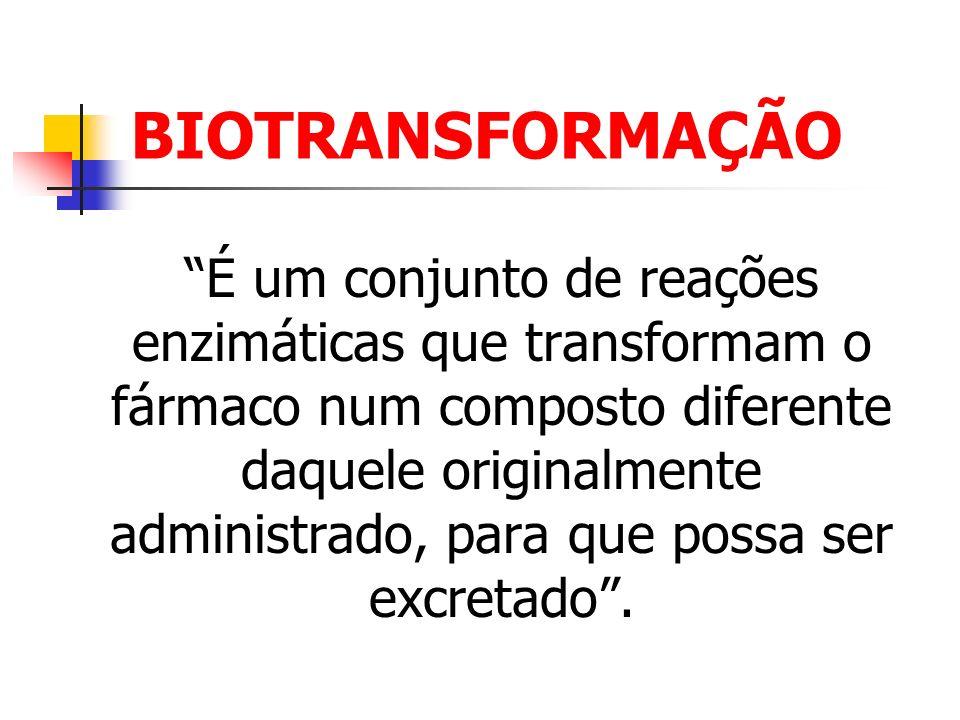 BIOTRANSFORMAÇÃO É um conjunto de reações enzimáticas que transformam o fármaco num composto diferente daquele originalmente administrado, para que po