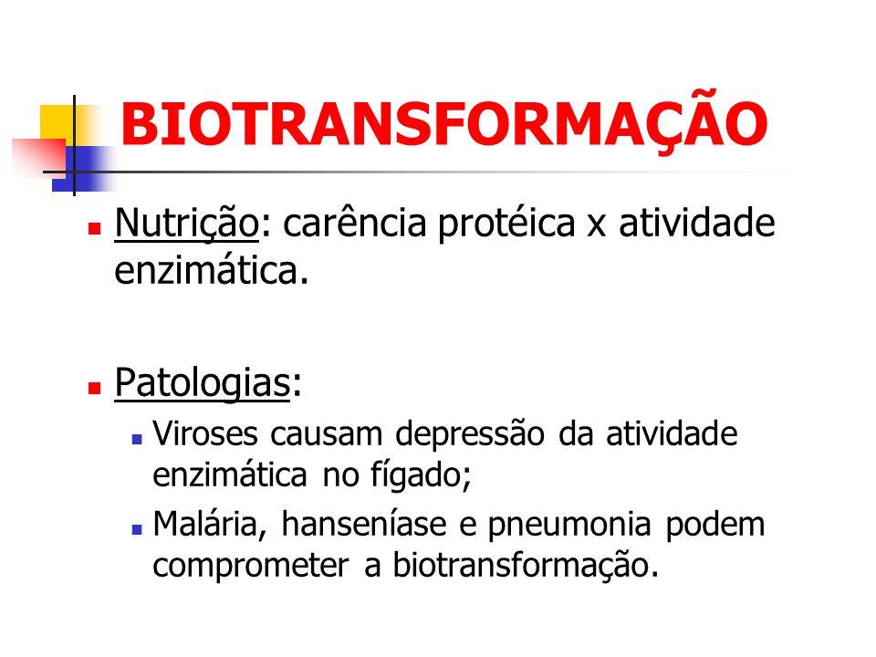 BIOTRANSFORMAÇÃO Nutrição: carência protéica x atividade enzimática. Patologias: Viroses causam depressão da atividade enzimática no fígado; Malária,