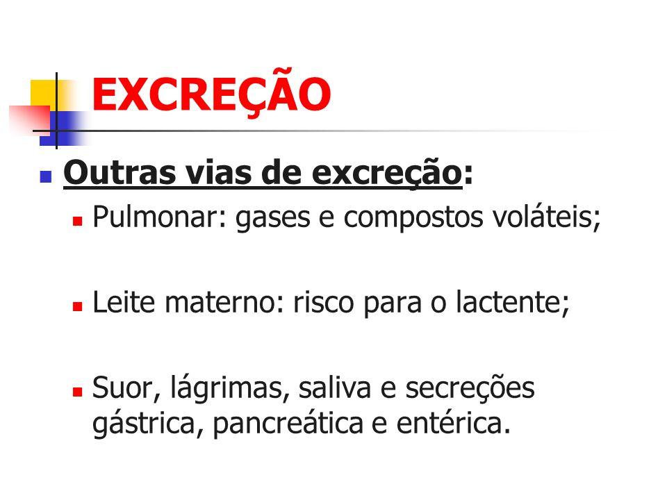 EXCREÇÃO Outras vias de excreção: Pulmonar: gases e compostos voláteis; Leite materno: risco para o lactente; Suor, lágrimas, saliva e secreções gástr