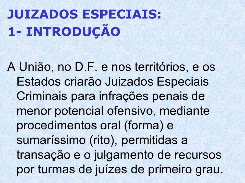 JUIZADOS ESPECIAIS: 1- INTRODUÇÃO A União, no D.F. e nos territórios, e os Estados criarão Juizados Especiais Criminais para infrações penais de menor