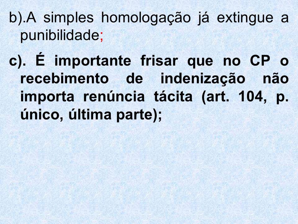 b).A simples homologação já extingue a punibilidade; c). É importante frisar que no CP o recebimento de indenização não importa renúncia tácita (art.