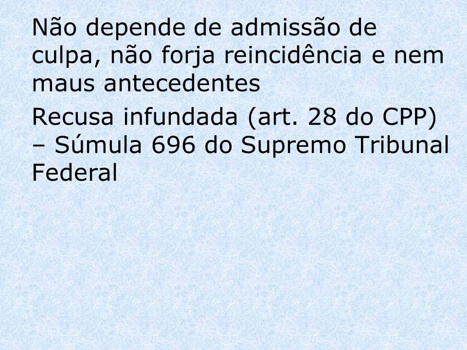 Não depende de admissão de culpa, não forja reincidência e nem maus antecedentes Recusa infundada (art. 28 do CPP) – Súmula 696 do Supremo Tribunal Fe