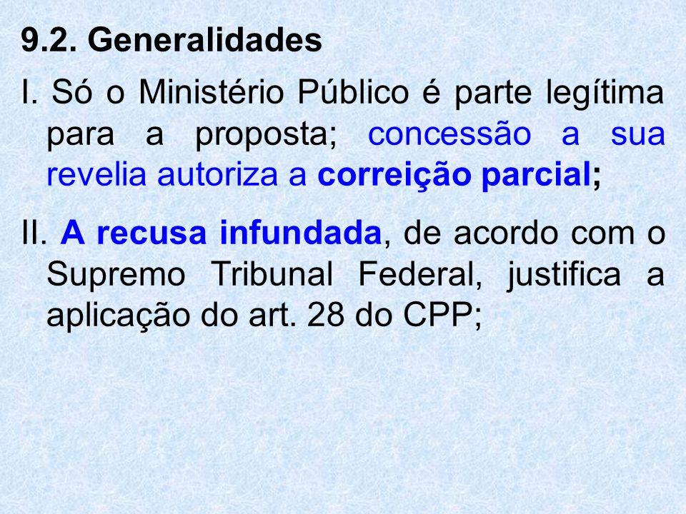 9.2. Generalidades I. Só o Ministério Público é parte legítima para a proposta; concessão a sua revelia autoriza a correição parcial; II. A recusa inf