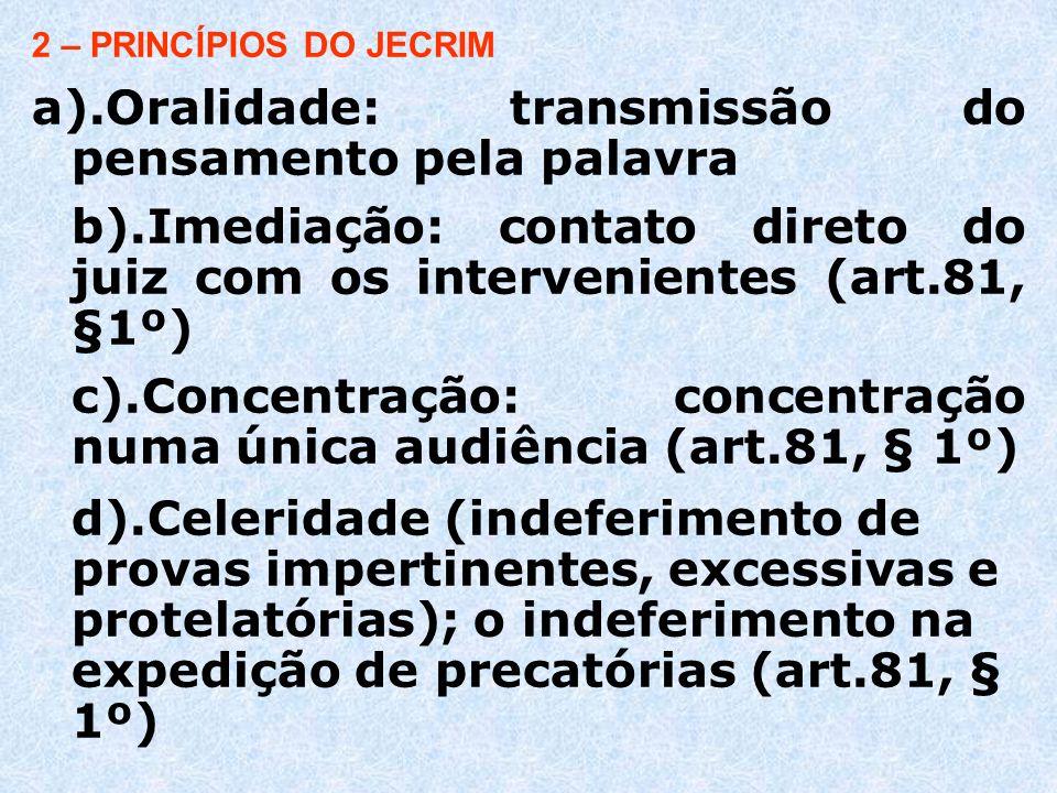 e).Identidade física do juiz (art.81, § 3º) f ) Informalidade-deformalização: exige do juiz familiaridade com as diretrizes básicas dos Juizados e sólida visão dos princípios de direito processual.