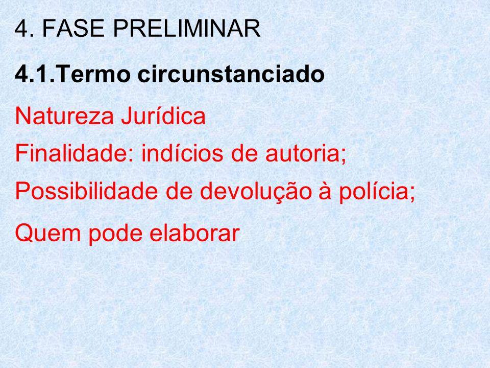 4. FASE PRELIMINAR 4.1.Termo circunstanciado Natureza Jurídica Finalidade: indícios de autoria; Possibilidade de devolução à polícia; Quem pode elabor