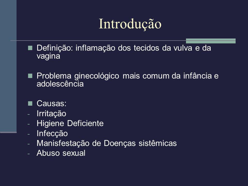 Introdução Definição: inflamação dos tecidos da vulva e da vagina Problema ginecológico mais comum da infância e adolescência Causas: - Irritação - Hi