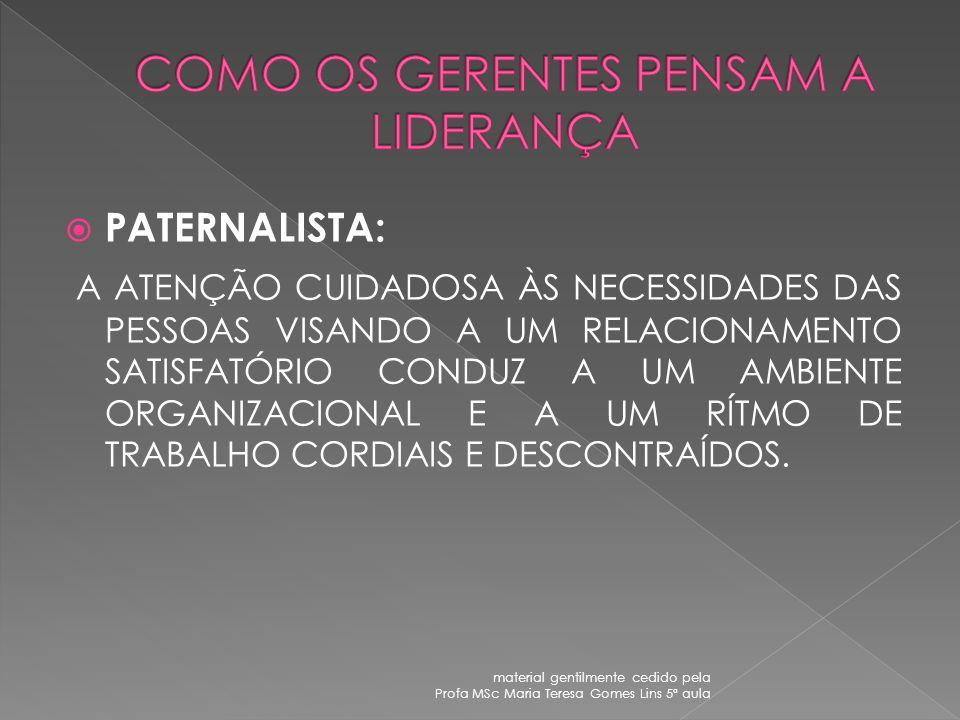 Preocupação com os serviços baixo alto Preo cup açã o com pes- soas PATER- NALISTA GERÊNCIA DE EQUIPE GERENCIA EMPOBRECIDA AUTORIDADE OBEDIÊNCIA