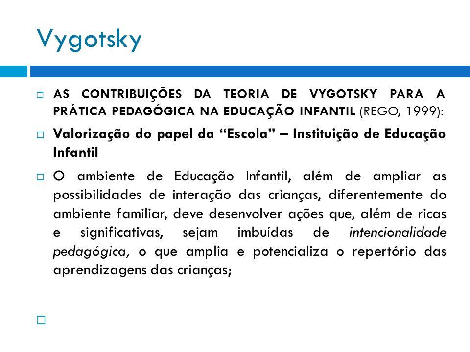 Vygotsky AS CONTRIBUIÇÕES DA TEORIA DE VYGOTSKY PARA A PRÁTICA PEDAGÓGICA NA EDUCAÇÃO INFANTIL (REGO, 1999): Valorização do papel da Escola – Institui