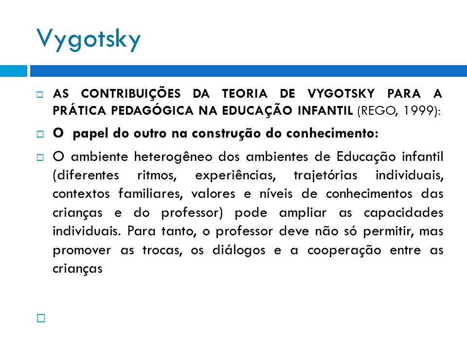 Vygotsky AS CONTRIBUIÇÕES DA TEORIA DE VYGOTSKY PARA A PRÁTICA PEDAGÓGICA NA EDUCAÇÃO INFANTIL (REGO, 1999): O papel do outro na construção do conheci