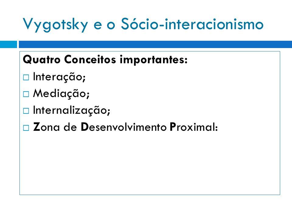 Vygotsky e o Sócio-interacionismo O Conceito de Interação É um conceito fundamental na teoria de Vygotsky e constitui o elemento essencial para o desenvolvimento humano (desenvolvimento das Funções Psicológicas Superiores).