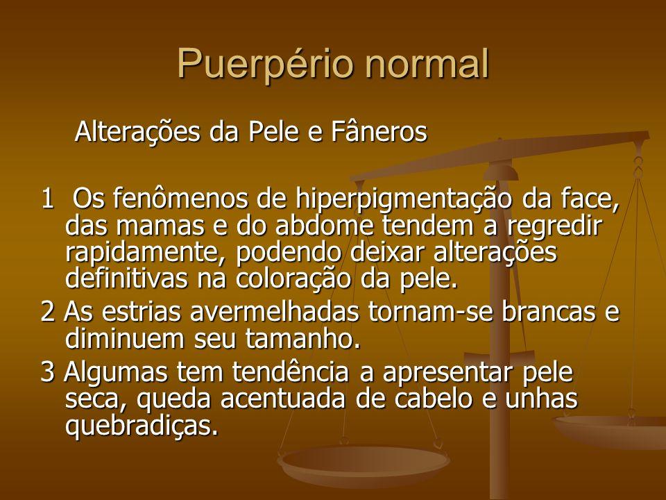 Alterações da Pele e Fâneros Alterações da Pele e Fâneros 1 Os fenômenos de hiperpigmentação da face, das mamas e do abdome tendem a regredir rapidame