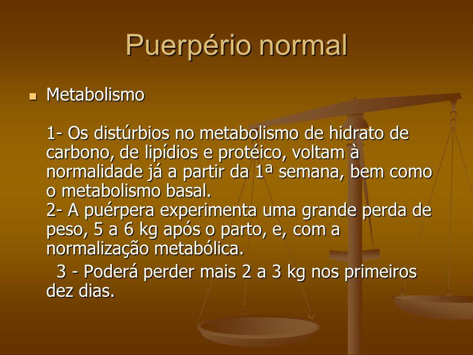 Metabolismo 1- Os distúrbios no metabolismo de hidrato de carbono, de lipídios e protéico, voltam à normalidade já a partir da 1ª semana, bem como o m