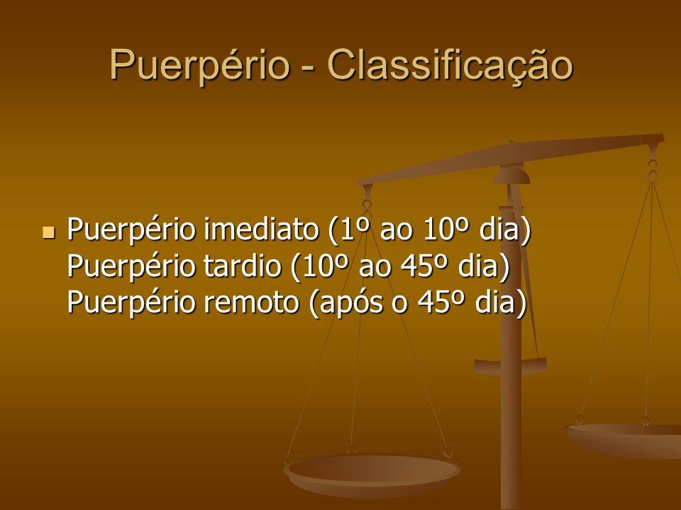 Puerpério - Classificação Puerpério imediato (1º ao 10º dia) Puerpério tardio (10º ao 45º dia) Puerpério remoto (após o 45º dia) Puerpério imediato (1