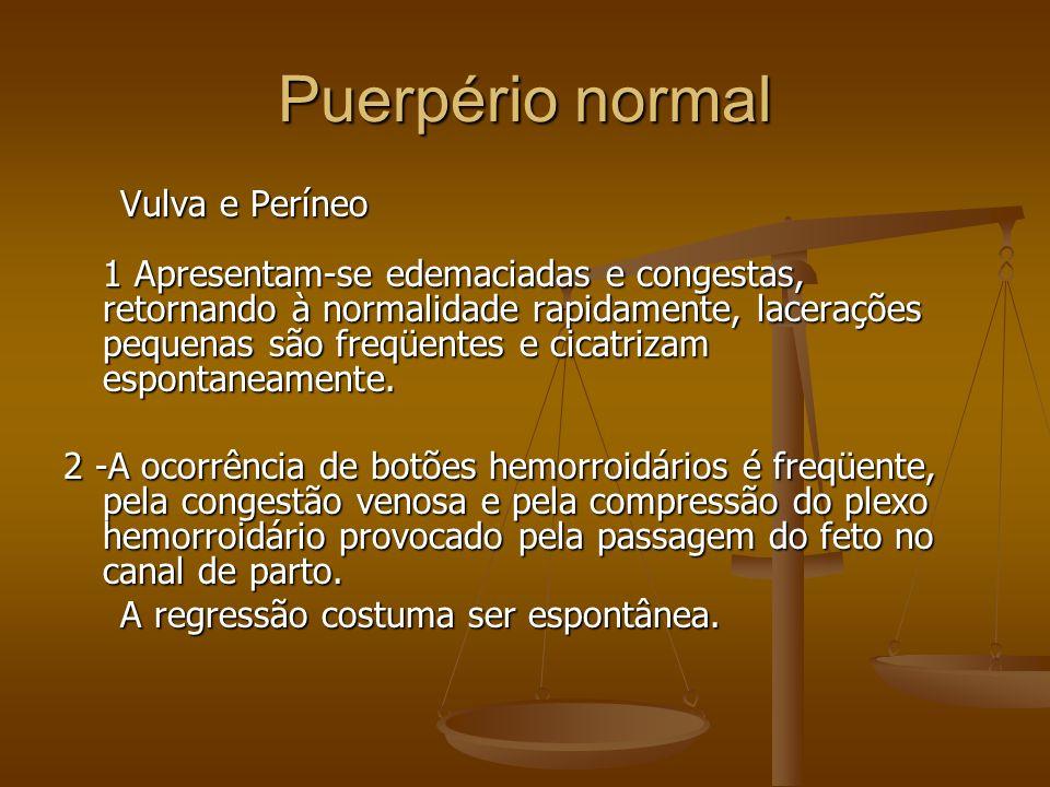 Vulva e Períneo 1 Apresentam-se edemaciadas e congestas, retornando à normalidade rapidamente, lacerações pequenas são freqüentes e cicatrizam esponta