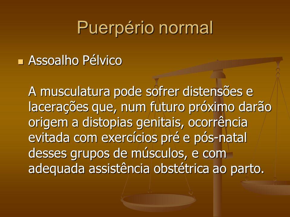 Assoalho Pélvico A musculatura pode sofrer distensões e lacerações que, num futuro próximo darão origem a distopias genitais, ocorrência evitada com e