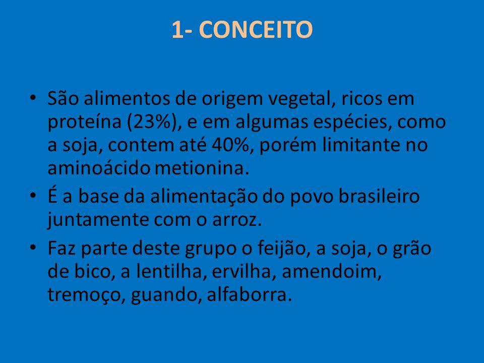 1- CONCEITO São alimentos de origem vegetal, ricos em proteína (23%), e em algumas espécies, como a soja, contem até 40%, porém limitante no aminoácid