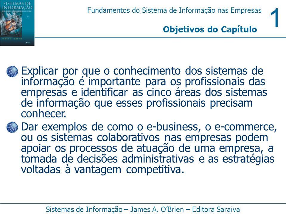 1 Fundamentos do Sistema de Informação nas Empresas Sistemas de Informação – James A. OBrien – Editora Saraiva Explicar por que o conhecimento dos sis