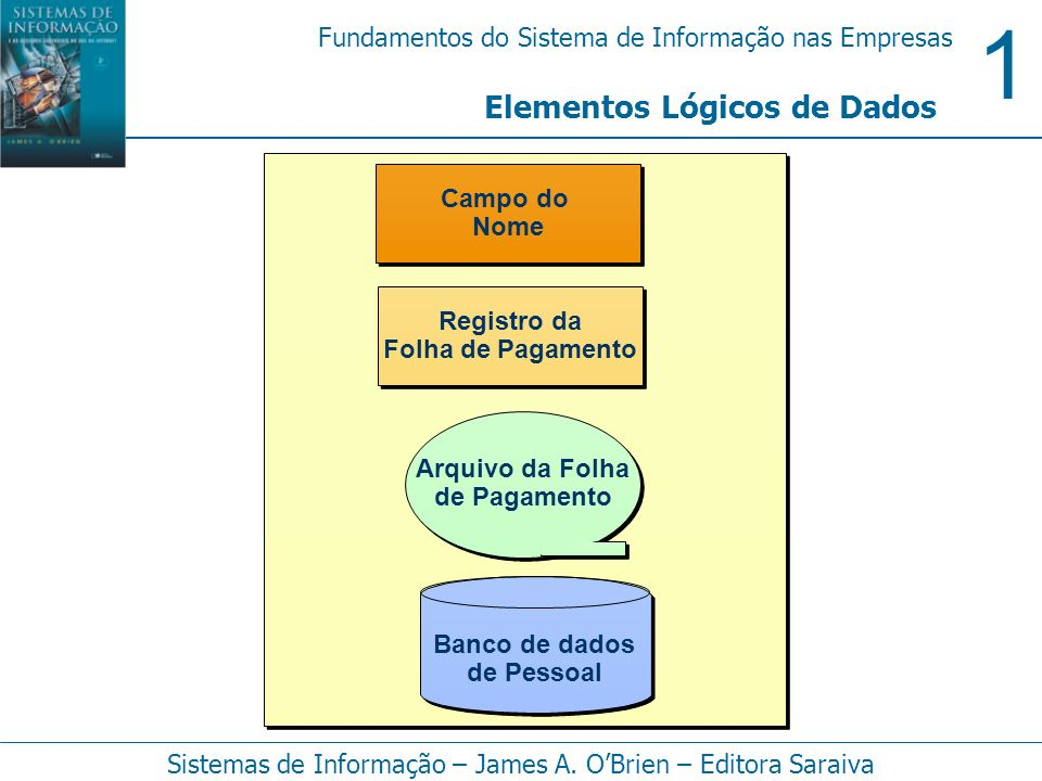 1 Fundamentos do Sistema de Informação nas Empresas Sistemas de Informação – James A. OBrien – Editora Saraiva Elementos Lógicos de Dados Campo do Nom