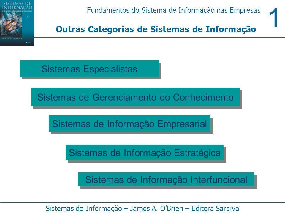 1 Fundamentos do Sistema de Informação nas Empresas Sistemas de Informação – James A. OBrien – Editora Saraiva Outras Categorias de Sistemas de Inform