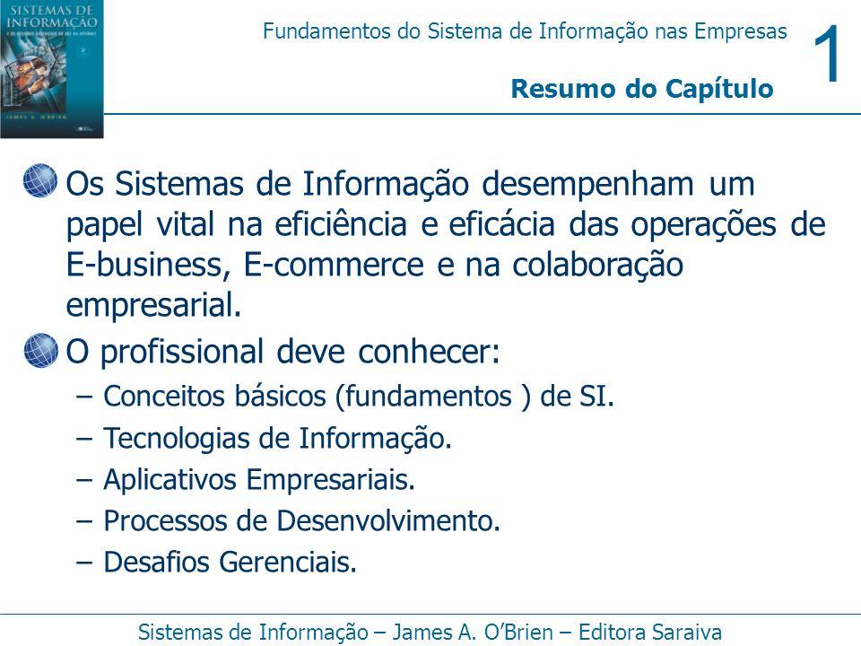 1 Fundamentos do Sistema de Informação nas Empresas Sistemas de Informação – James A. OBrien – Editora Saraiva Resumo do Capítulo Os Sistemas de Infor