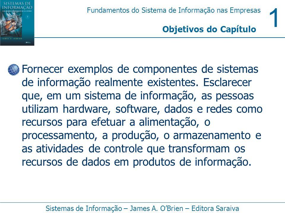 1 Fundamentos do Sistema de Informação nas Empresas Sistemas de Informação – James A. OBrien – Editora Saraiva Fornecer exemplos de componentes de sis