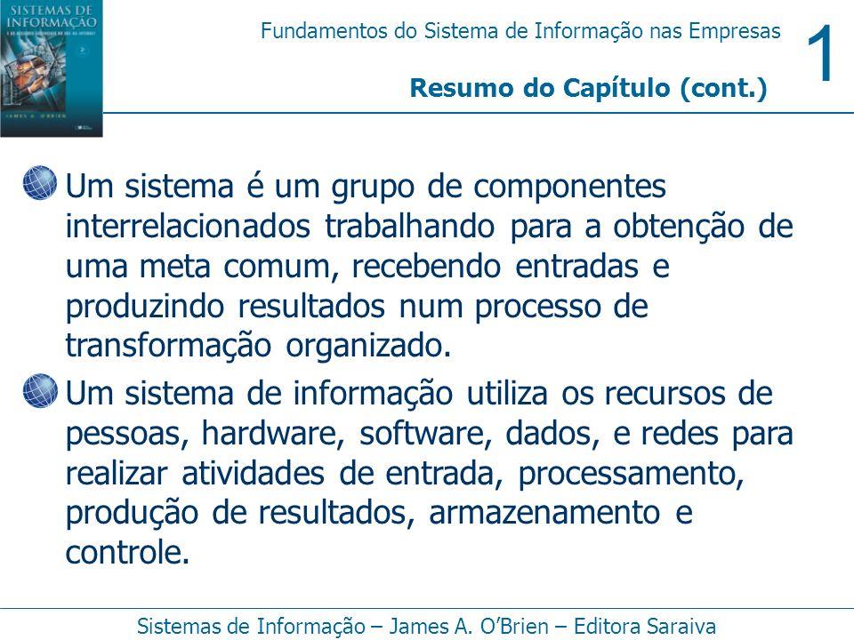 1 Fundamentos do Sistema de Informação nas Empresas Sistemas de Informação – James A. OBrien – Editora Saraiva Resumo do Capítulo (cont.) Um sistema é