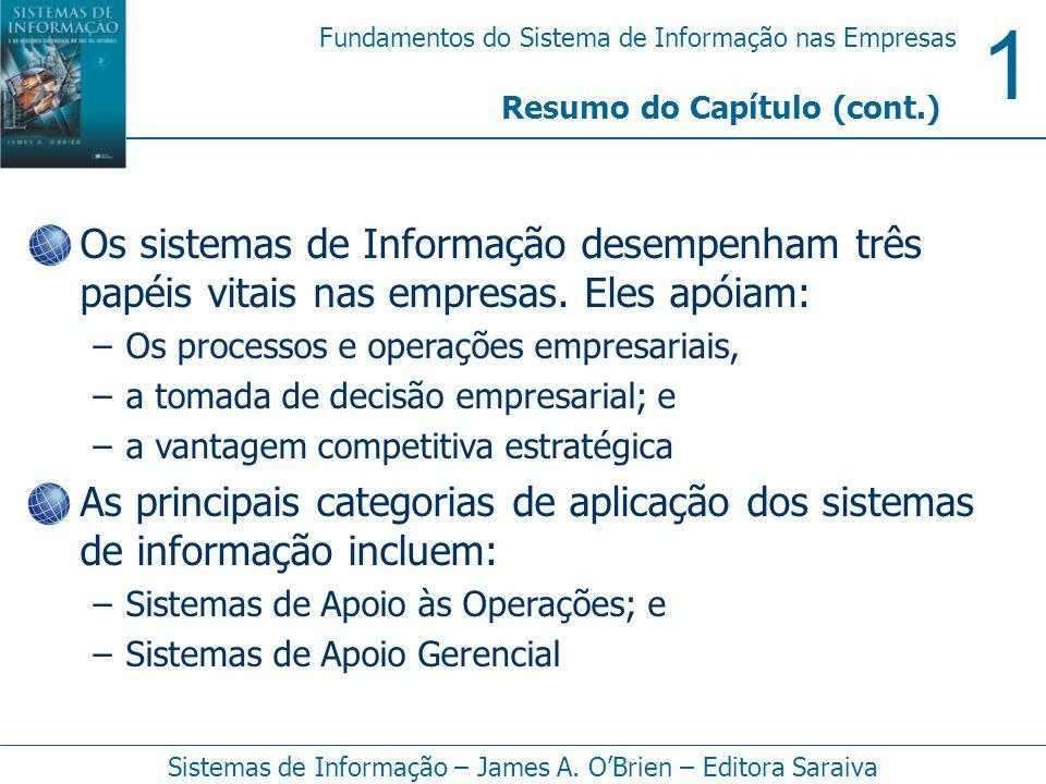 1 Fundamentos do Sistema de Informação nas Empresas Sistemas de Informação – James A. OBrien – Editora Saraiva Os sistemas de Informação desempenham t