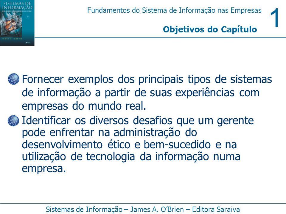 1 Fundamentos do Sistema de Informação nas Empresas Sistemas de Informação – James A. OBrien – Editora Saraiva Fornecer exemplos dos principais tipos