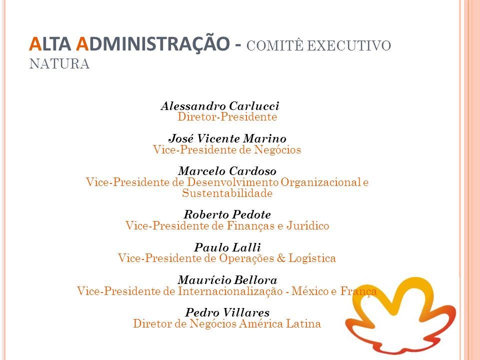 ALTA ADMINISTRAÇÃO - COMITÊ EXECUTIVO NATURA Alessandro Carlucci Diretor-Presidente José Vicente Marino Vice-Presidente de Negócios Marcelo Cardoso Vi