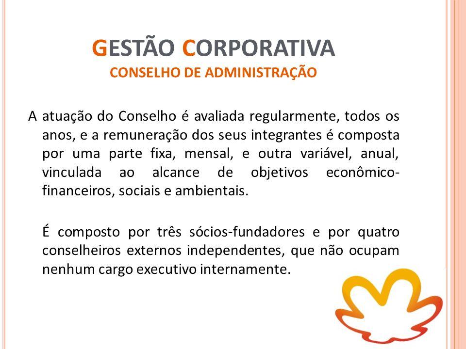 GESTÃO CORPORATIVA CONSELHO DE ADMINISTRAÇÃO A atuação do Conselho é avaliada regularmente, todos os anos, e a remuneração dos seus integrantes é comp