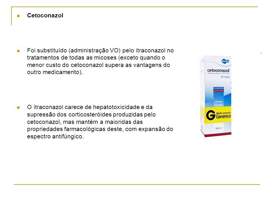 Cetoconazol Foi substituído (administração VO) pelo itraconazol no tratamentos de todas as micoses (exceto quando o menor custo do cetoconazol supera
