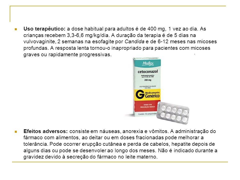 Uso terapêutico: a dose habitual para adultos é de 400 mg, 1 vez ao dia. As crianças recebem 3,3-6,6 mg/kg/dia. A duração da terapia é de 5 dias na vu
