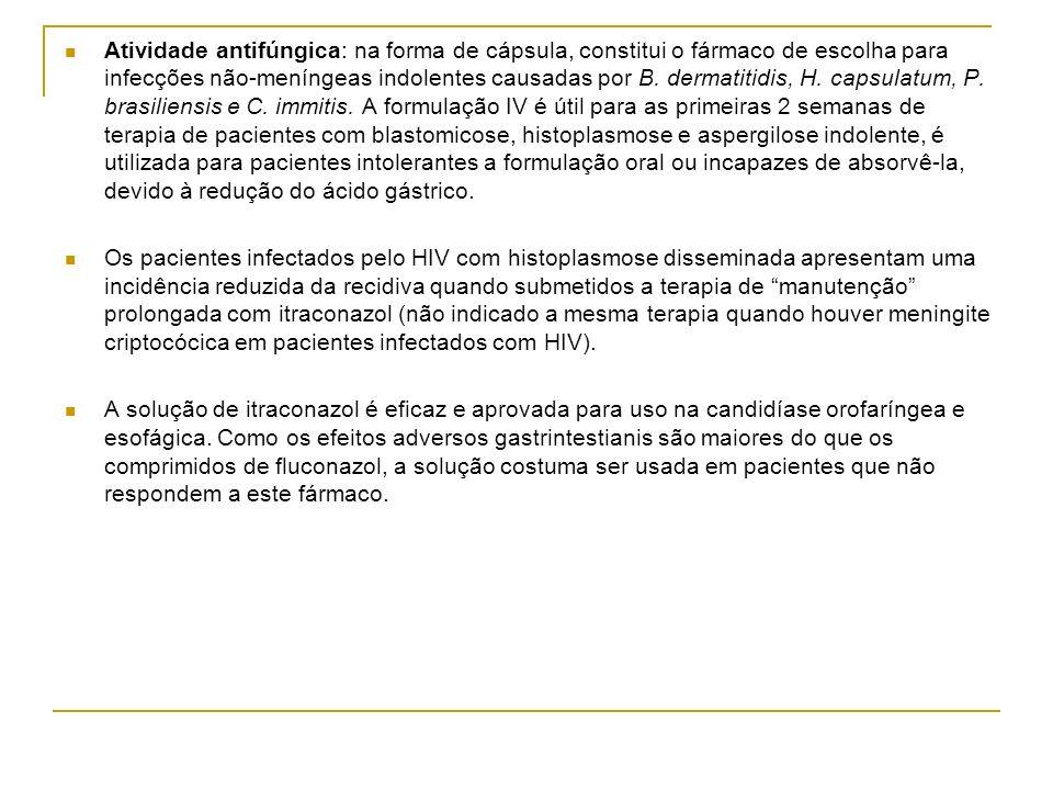 Atividade antifúngica: na forma de cápsula, constitui o fármaco de escolha para infecções não-meníngeas indolentes causadas por B. dermatitidis, H. ca