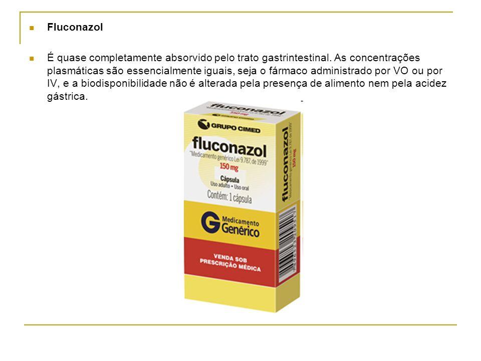 Fluconazol É quase completamente absorvido pelo trato gastrintestinal. As concentrações plasmáticas são essencialmente iguais, seja o fármaco administ