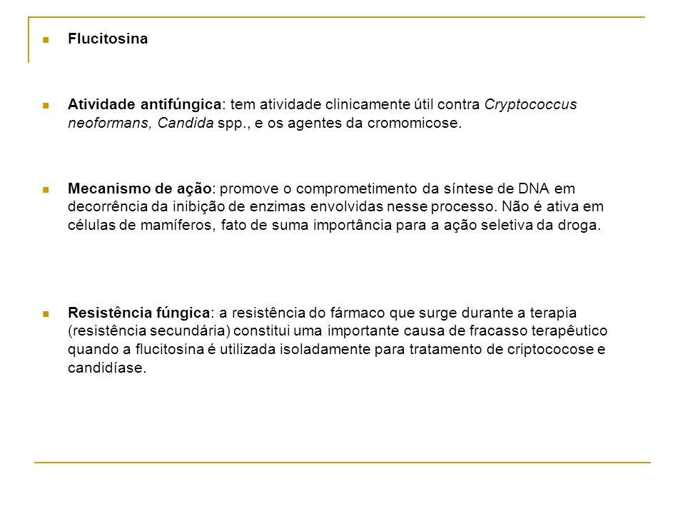 Flucitosina Atividade antifúngica: tem atividade clinicamente útil contra Cryptococcus neoformans, Candida spp., e os agentes da cromomicose. Mecanism