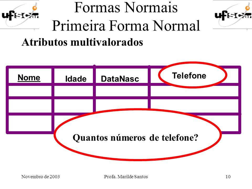 Novembro de 2003Profa. Marilde Santos10 Formas Normais Primeira Forma Normal Atributos multivalorados Nome IdadeDataNasc Telefone Quantos números de t
