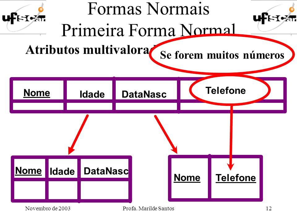 Novembro de 2003Profa. Marilde Santos12 Formas Normais Primeira Forma Normal Atributos multivalorados Nome IdadeDataNasc Telefone Nome Idade DataNasc