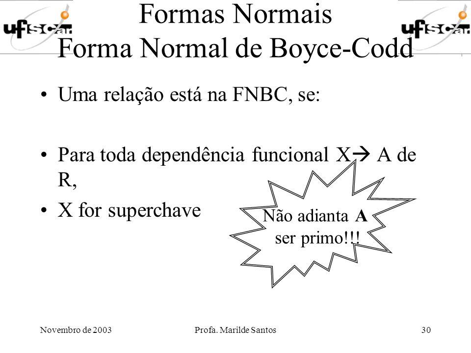 Novembro de 2003Profa. Marilde Santos30 Formas Normais Forma Normal de Boyce-Codd Uma relação está na FNBC, se: Para toda dependência funcional X A de