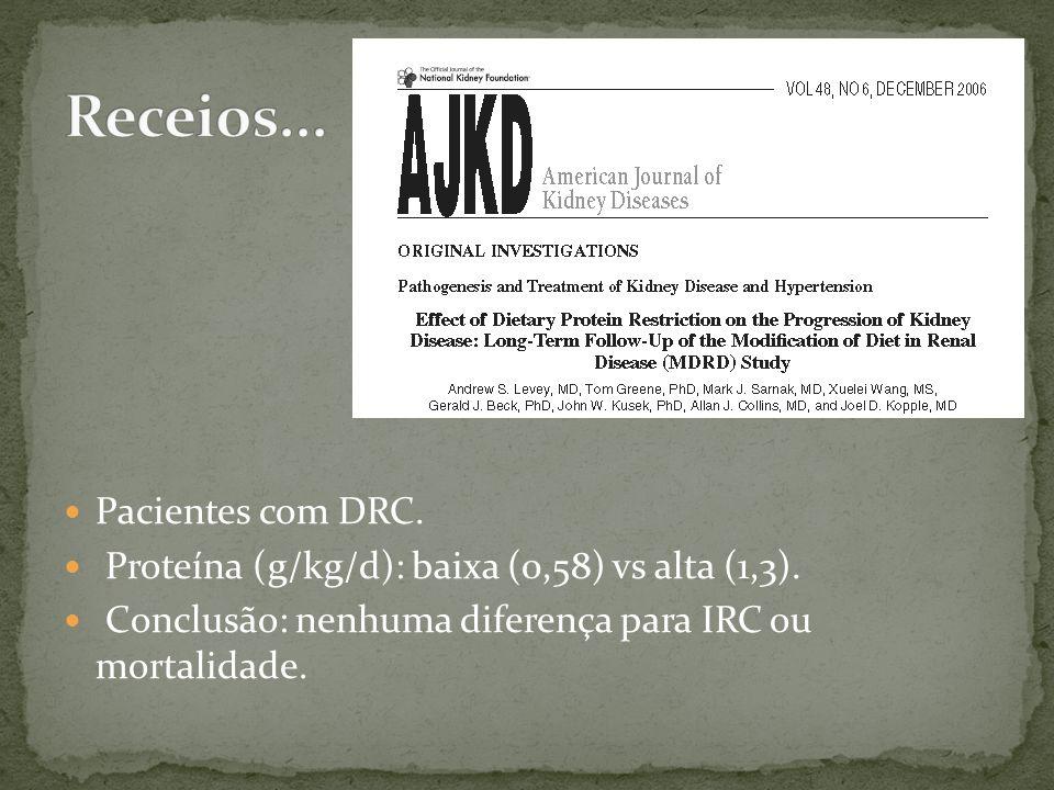 Pacientes com DRC. Proteína (g/kg/d): baixa (0,58) vs alta (1,3). Conclusão: nenhuma diferença para IRC ou mortalidade.